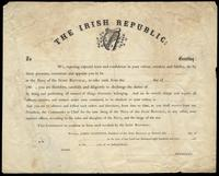 A blank form letter for commission in the Navy of the Irish Republic