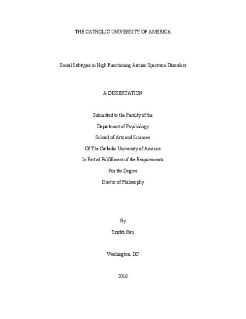 dissertation autismus A comprehensive database of dissertation examples for you to use as inspiration for your own work dissertation examples remember, you should not hand in any of these dissertations as your own.
